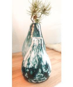 Vaas Green Clouded glas handmade 31 cm hoog