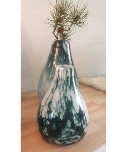 Vaas GreenCloudedglas handmade 23 cm hoog