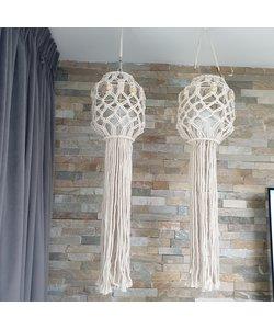 Hang windlicht Macrame helder glas
