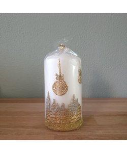 Kaars Parelwitte kerstmis Stad rond