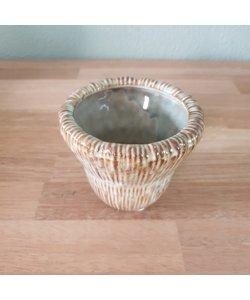 Bloempot Fungus S creme/beige aardewerk