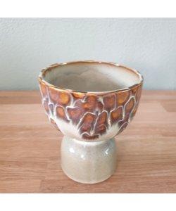 Vaas Diabolo S amber creme aardewerk