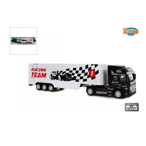 F1 Vrachtwagen met oplegger die cast pull back 31cm