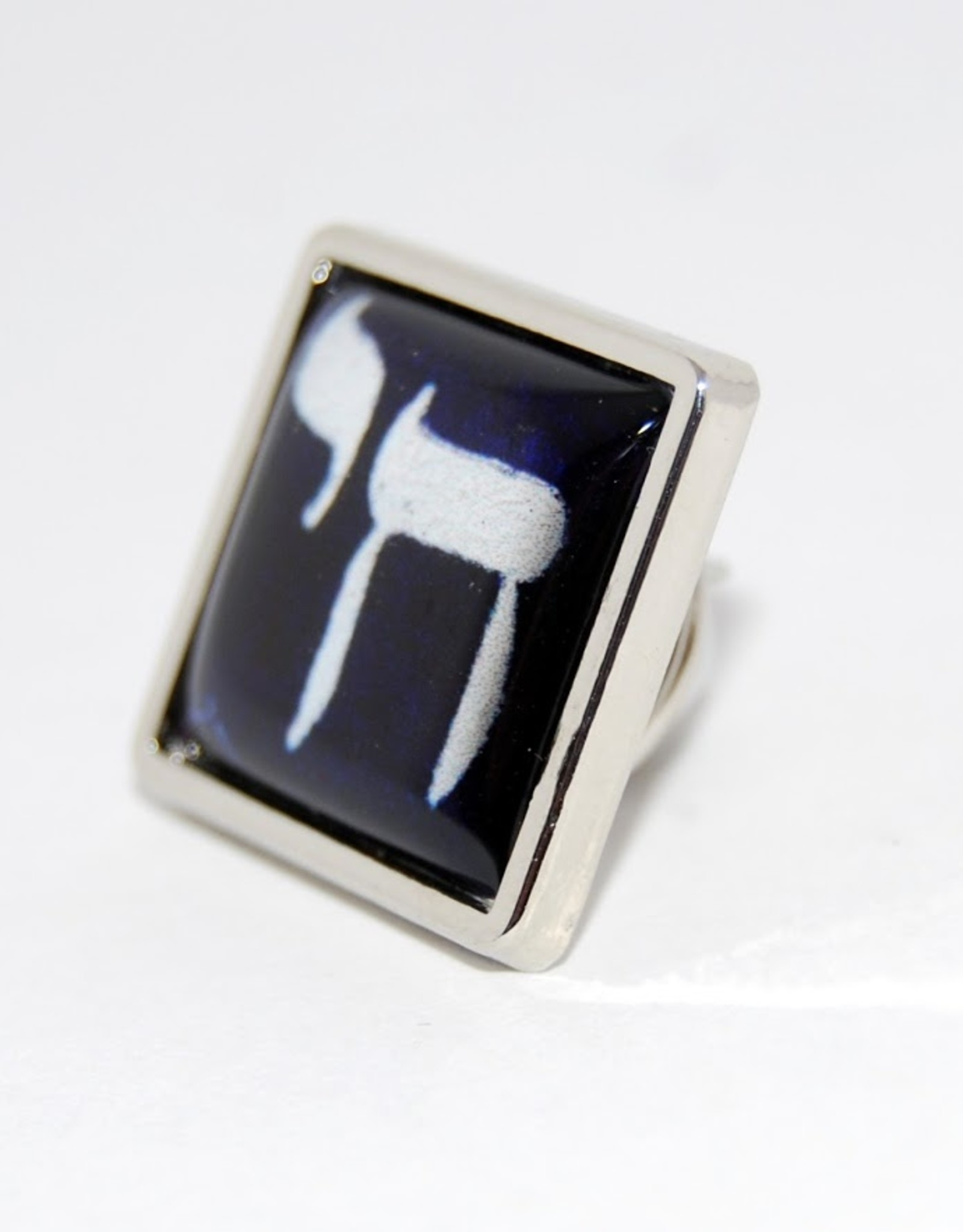 Chaipainter Chai Pin brooch  in Israeli blue and white colors.