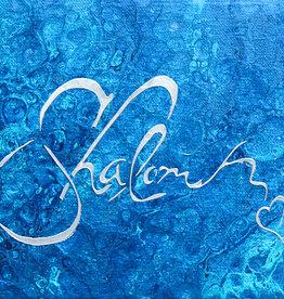 Chaipainter Shalom schilderij gemaakt met gemengde technieken