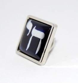 Chai Pin brooch  in Israely blue and white