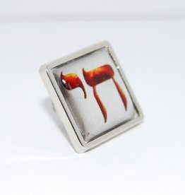 Chai Pin broche Fire in Silver