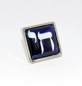Chaipainter Chai Pin brooch in Israeli blue white colors.