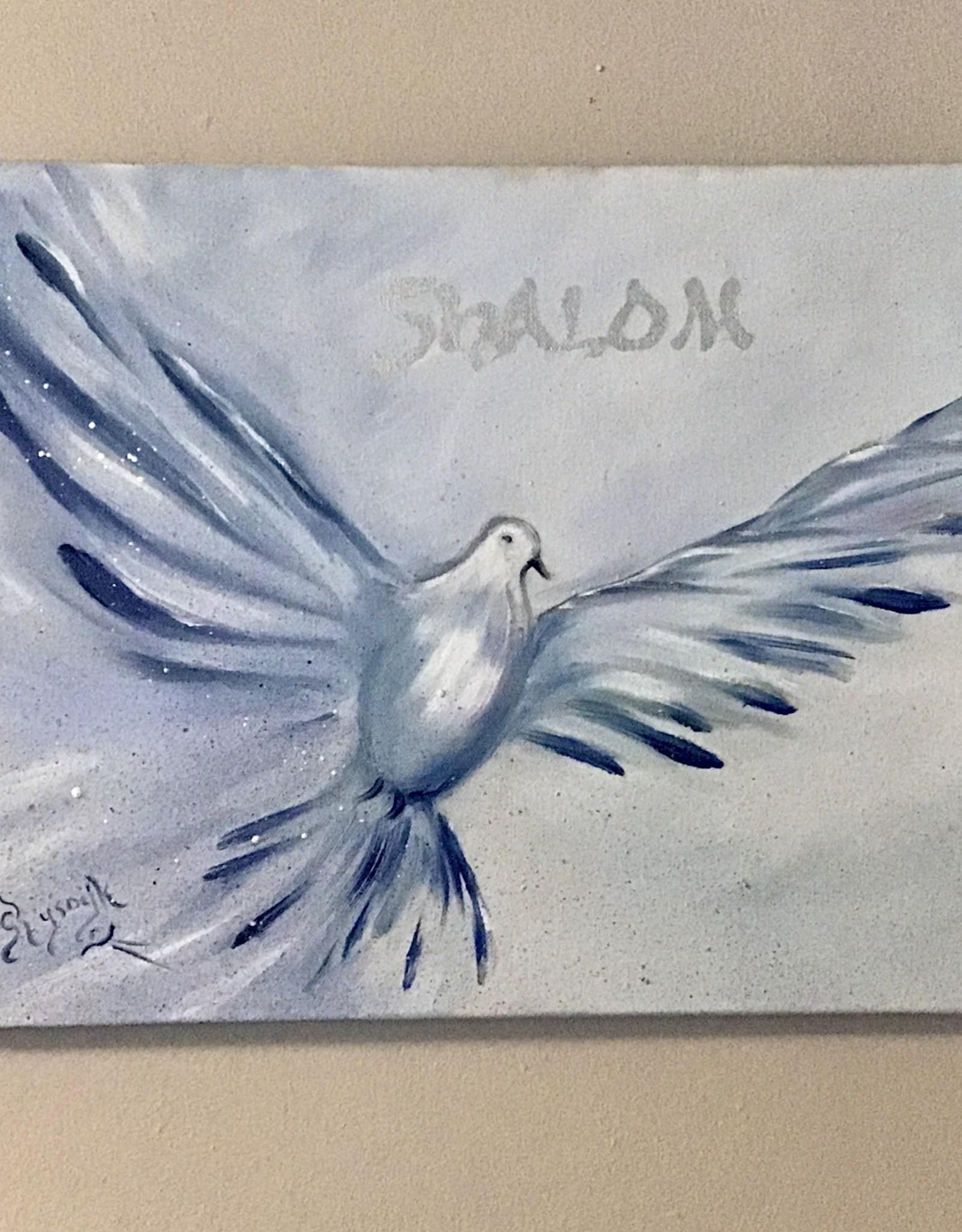 Chaipainter Shalom in blauw en zilver