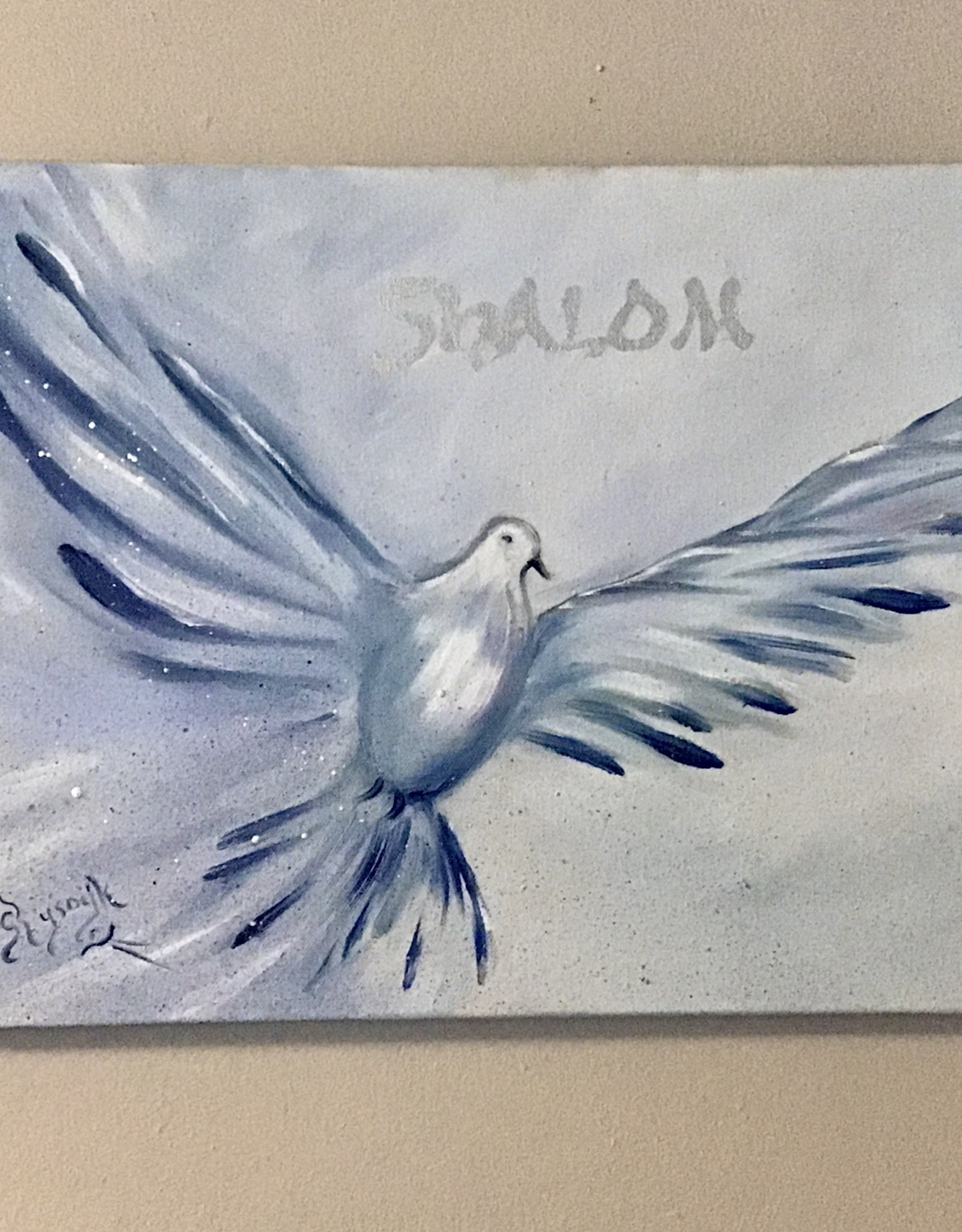 Chaipainter Shalom  In Blue and silver