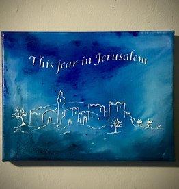 Chaipainter Dit jaar in Jerusalem. Origineel kunstwerk.