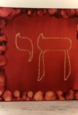 Chaipainter Chai schilderij in levendige kleuren op een subtiele achtergrond met goud