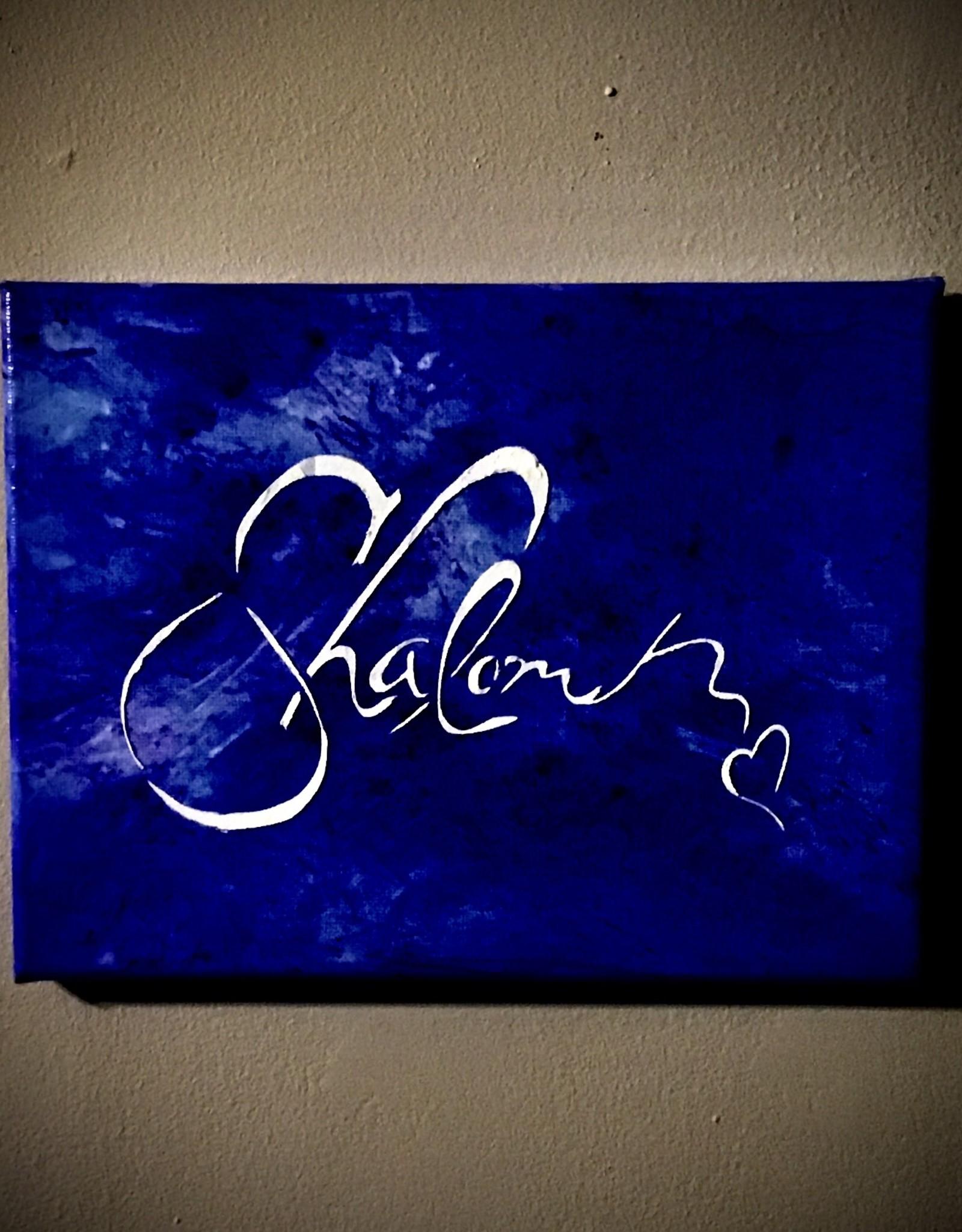 Chaipainter Shalom schilderij.  Origineel kunstwerk. Een  groet van Vrede en Heel zijn