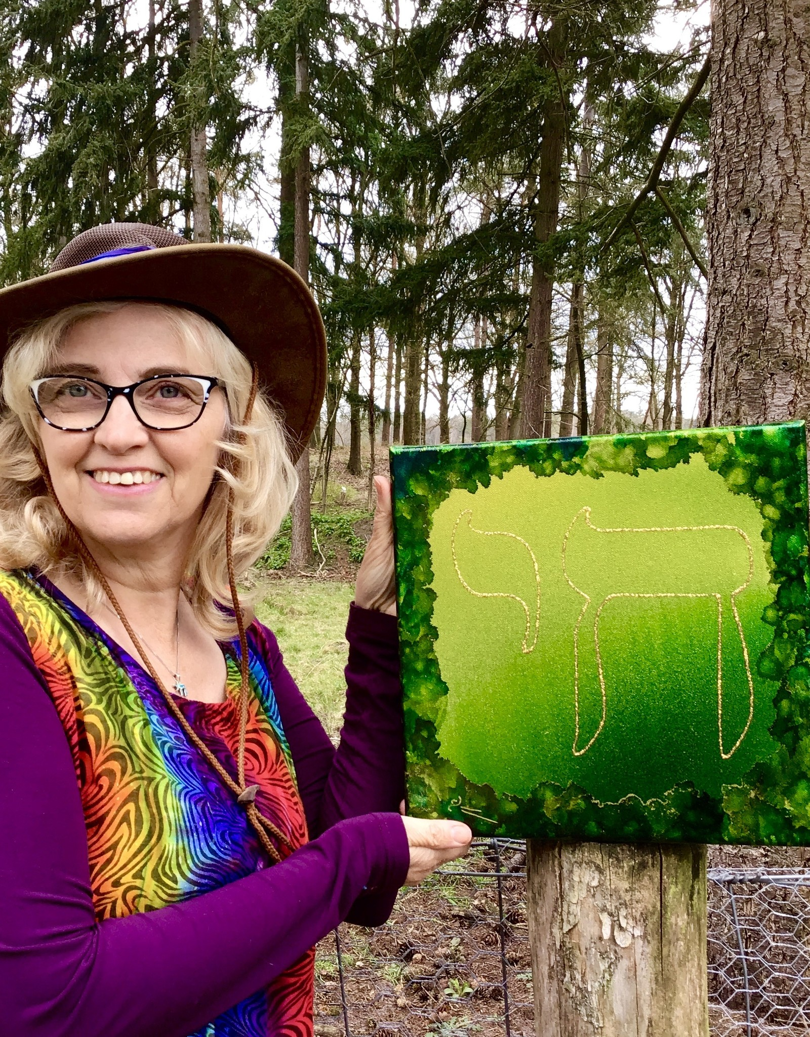 Chaipainter Chai schilderij in bos groen 30 bij 30 cm