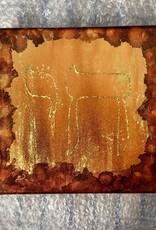 Chaipainter Chai schilderij met gouden zonnestralen. Warm oranje met goud en een beetje roodbruin.