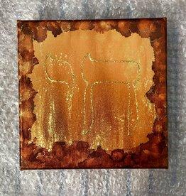 Chaipainter Chai schilderij met gouden zonnestralen.