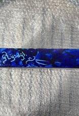 Chaipainter  Chai schilderij  in blauw met een beetje paars en zilver. 20 bij 20 cm
