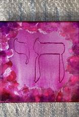 Chaipainter Chai schilderij in vrolijk roze met zilver.  20 bij 20 cm