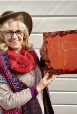 Chaipainter Chai schildeij in rood en oranje met goud .