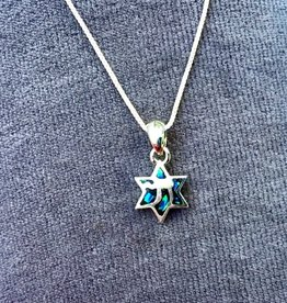 Silver pendant of Star of  David with Chai