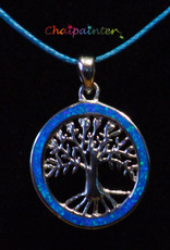 Silver pendant with opal blue tree of life