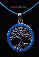 Zilveren hanger met opaal blauwe levensboom