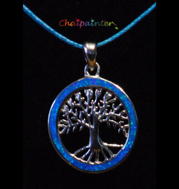Silver pendant with opal tree of life