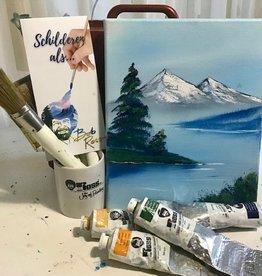 Schilderworkshop hand geschilderde waardebon op een ezeltje