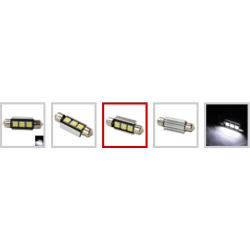 5050 smd 3 LED Canbus dubbel scherp 41mm wit