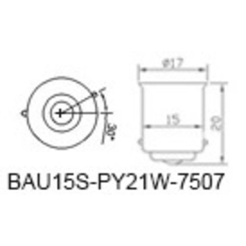 BAU15S 1156, 13 LED SMD 5050 Geel/Amber