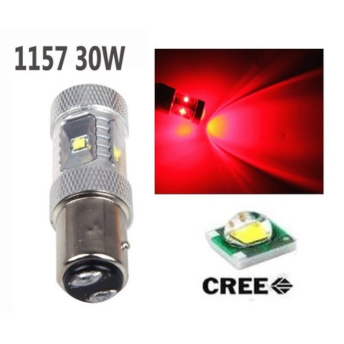 BAY15D-1157-30W 6st Cree LED met lens Rood