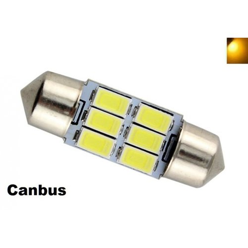C5W Festoon 31mm 6x 5730SMD LED Canbus geel/amber