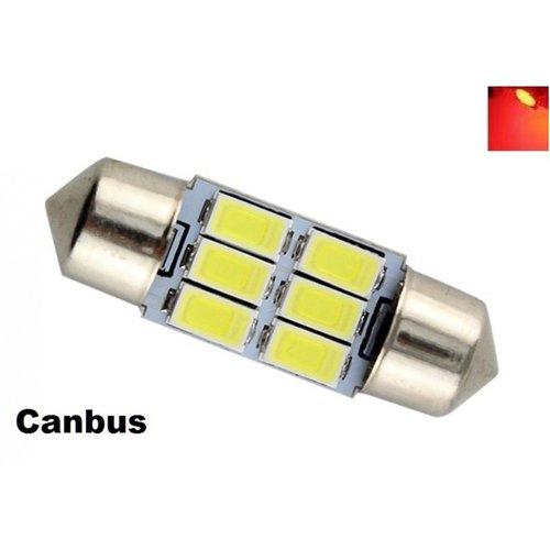 C5W Festoon 31mm 6x 5730SMD LED Canbus Rood