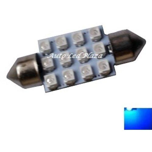 festoon C5W 12x 3528SMD Blauw 36mm