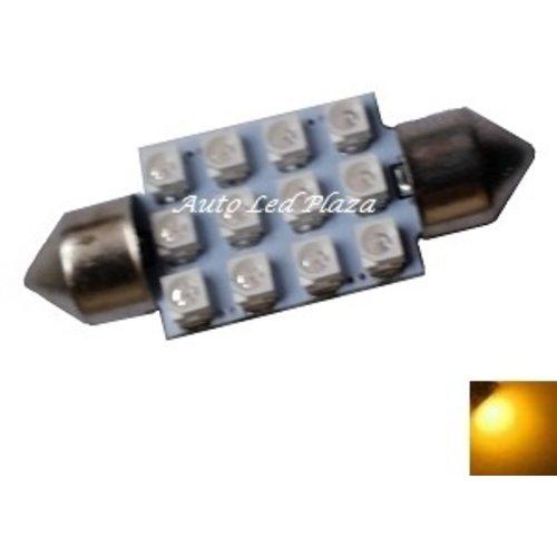 festoon C5W 12x 3528SMD Geel/Amber 42mm