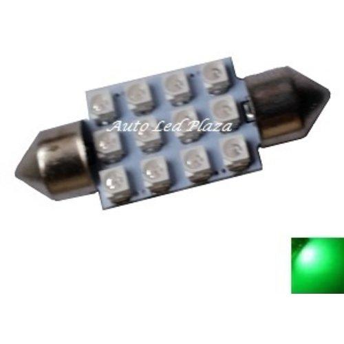 festoon C5W 12x 3528SMD Groen 36mm