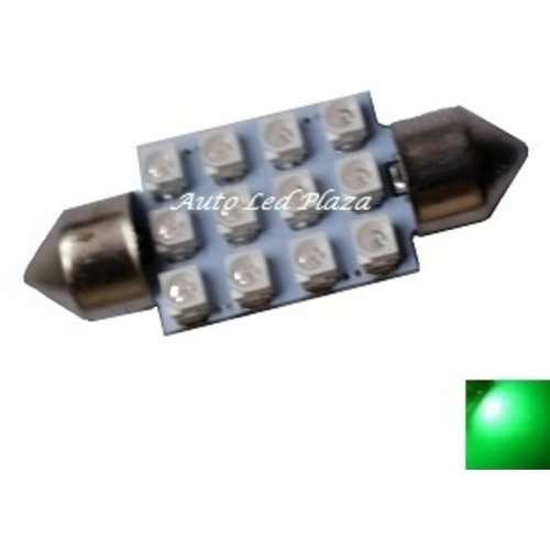 festoon C5W 12x 3528SMD Groen 42mm