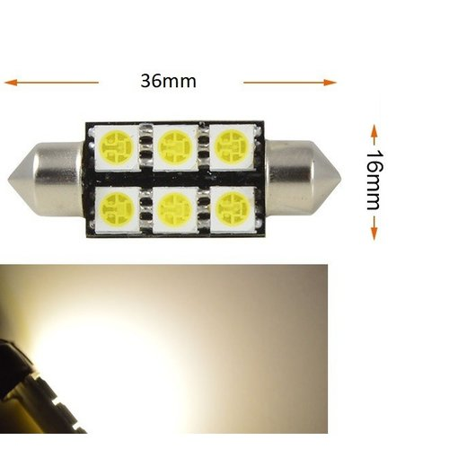 Festoon C5W 6x 5050smd LED Warm wit 4300K 120Lumen 39mm
