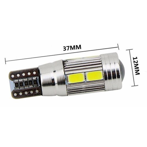 T10 W5W Canbus 10x 5630SMD LED met ring incl.lens  non polarizerend