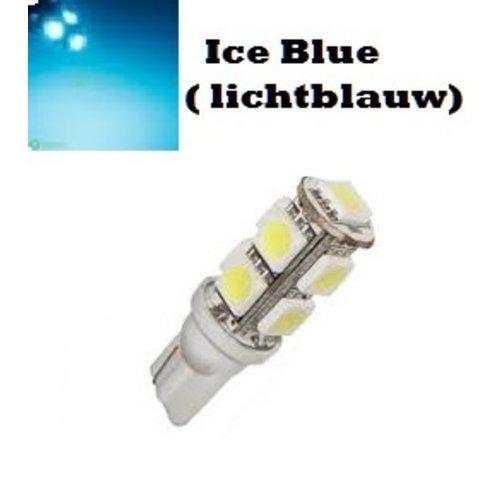T10 W5W led 9x 5050 SMD cold ice blue (licht blauw)