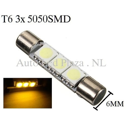 T6 28MM LED buislamp Geel amber
