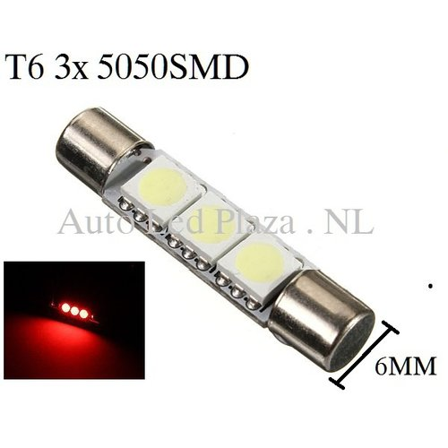 T6 28MM LED buislamp Rood