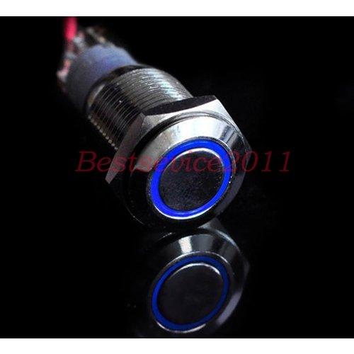 12V LED druk schakelaar 16mm angle eye blauw