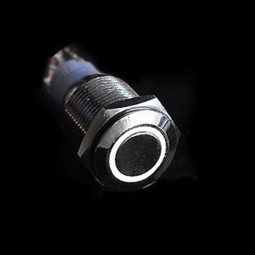 12V LED moment druk schakelaar 16mm angel eye wit