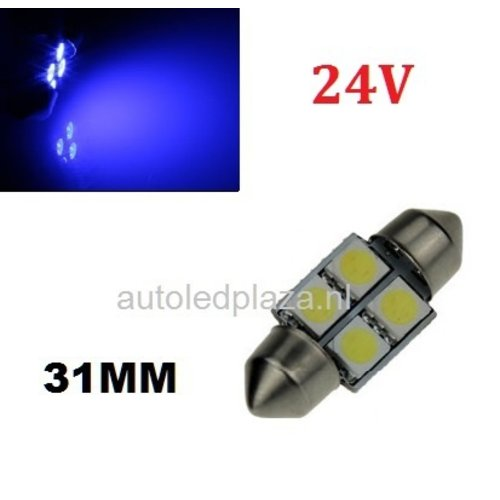 24V C5W Festoon 31MM 4x 5050SMD LED Blauw