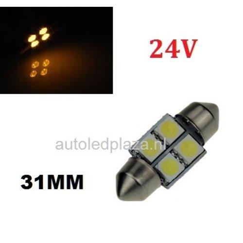 24V C5W Festoon 31MM 4x 5050SMD LED Geel/Amber