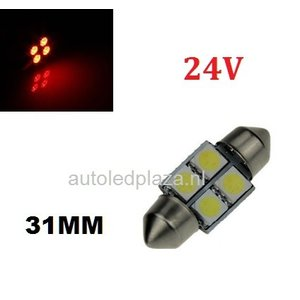 24V C5W Festoon 31MM 4x 5050SMD LED Rood