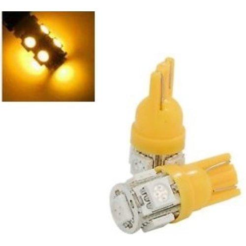 6V T10 W5W led 5x 5050 SMD LED geel/amber