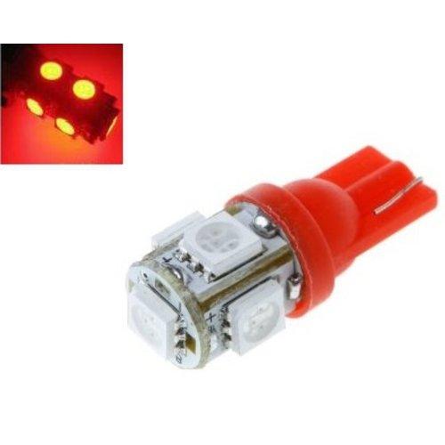 6V T10 W5W led 5x 5050 SMD LED Rood