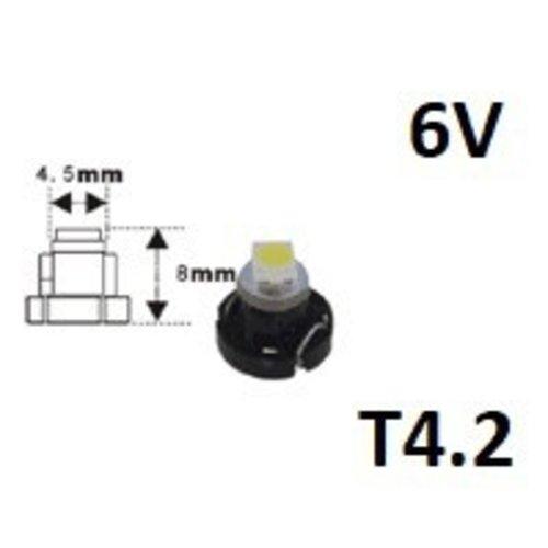 6V T4.2 1x 3528SMD LED Rood